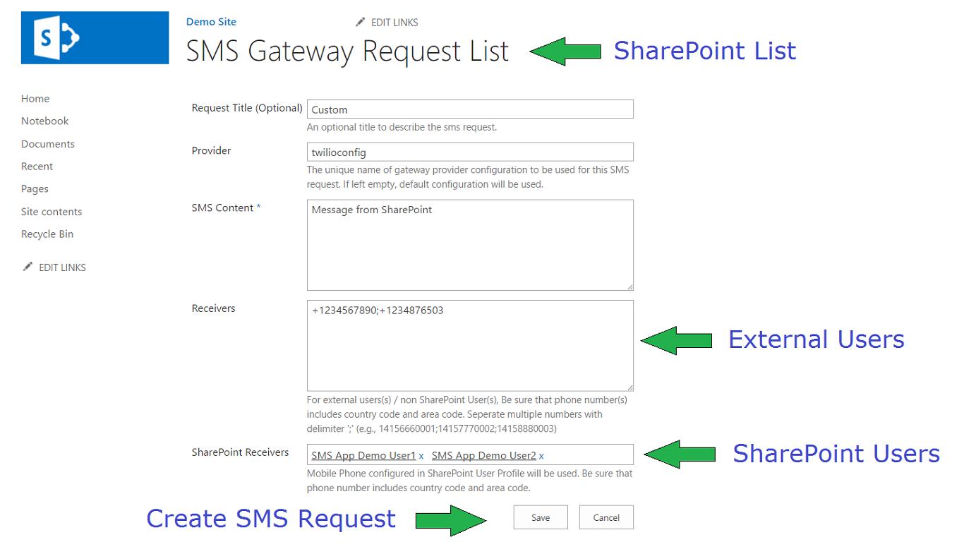 SMS Gateway Connector (SMS Via SharePoint List)   Twilio
